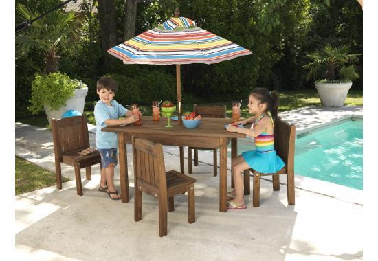 Outdoor Espresso table & stacking chair set