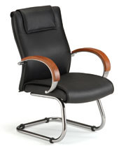Executive Leather Guest Chair with Wood Accents