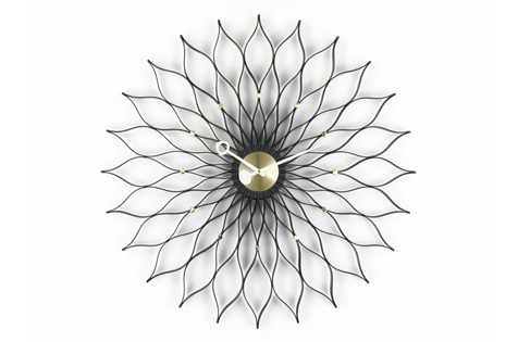 Vitra Sunflower Clock Black/Brass by George Nelson